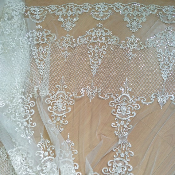 Bridal Lace Applique Floral Corded Wedding Motif Ivory Lace Applique-Trim OQ