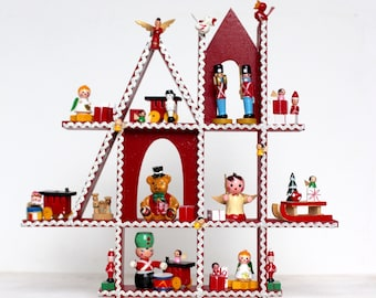 midcentury wooden christmas village vintage holiday decor 1950s christmas collectible retro holiday retro christmas