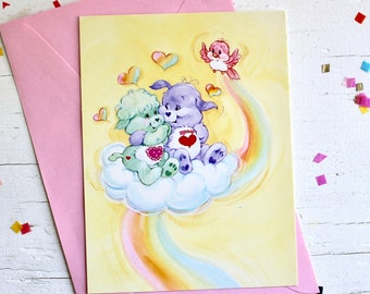 Vintage 80s Care Bear Cousins Rainbow Friendship Greeting Card with Envelope