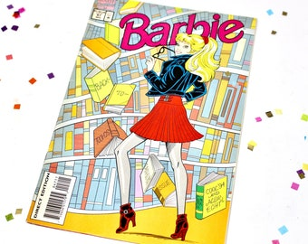 Back to School Barbie Fashion Marvel Comic Book, Vintage 90s Barbie Doll Magazine with Ads