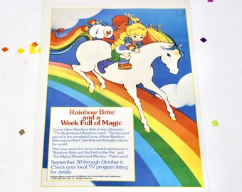 Vintage 80s Rainbow Brite and Care Bears Comic Book Ad, Collectible Rainbow Brite Paper Art
