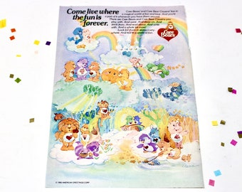 Vintage 80s Care Bear Comic Book Ad, Collectible Care Bears Paper Art