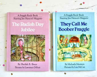 Fraggle Rock Hardcover Kids Books, Choose Your Own, Vintage 80s Radish Day Jubilee They Call Me Boober Fraggle
