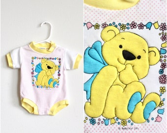 6c5fd4e07 80s/90s Vintage Unisex Baby Onesie- Yellow Blue Bear Pink Polka Dots - 0-6  Months- Lightening Bug Label Cotton/Polyester Blend Baby Clothes