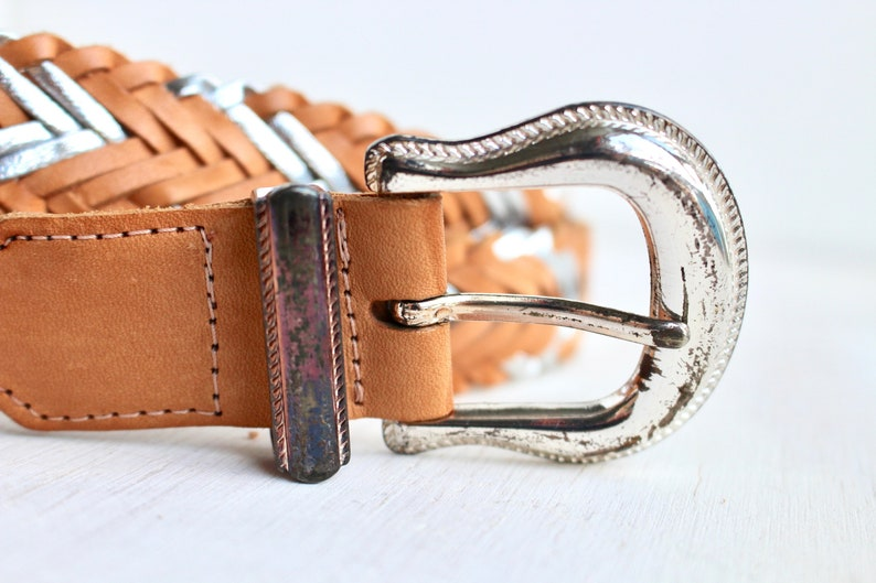 80s 90s Western Style Fashion Belt with Silver Metallic Accents Vintage Boho Tan and Silver Leather Braided Belt with Buckle
