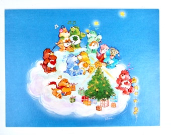 Vintage Care Bears Christmas Happy Holidays Rainbow Greeting Post Card
