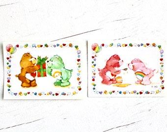 Vintage 80s Care Bear Panini Album Stickers #76 #77, 80s Care Bear Paper Ephemera