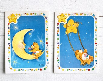 Vintage 80s Birthday Care Bear Panini Stickers #33 #35 for Sticker Album Crafts Happy Mail