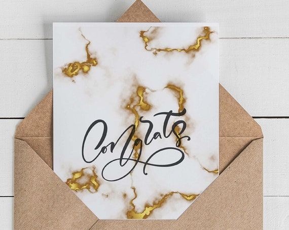 Marble Congrats Card Set