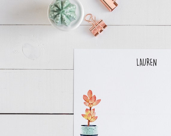 Pink Succulent Personalized Notecards