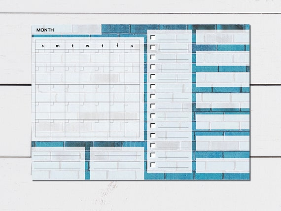 Blue Brick Large Monthly Planner