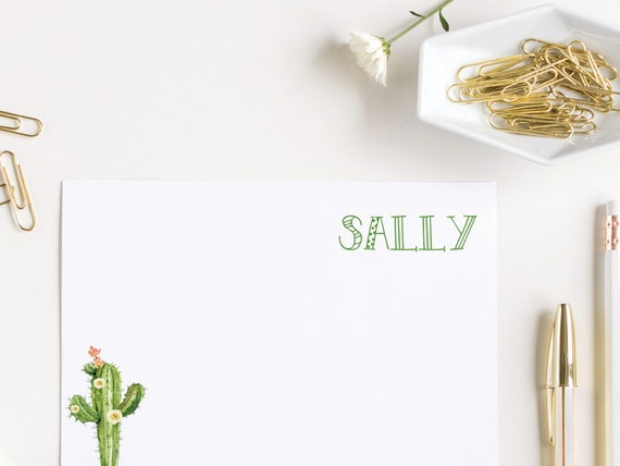 Small Cactus with Flowers Personalized Notecards