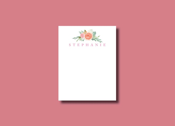 Water Color Flower Custom Personalized Notepad