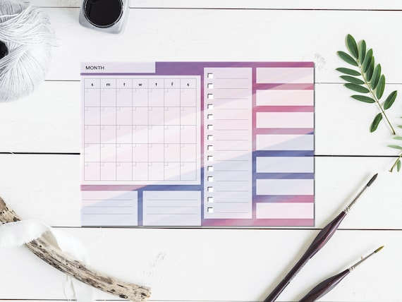 Purple Watercolor Large Monthly Planner