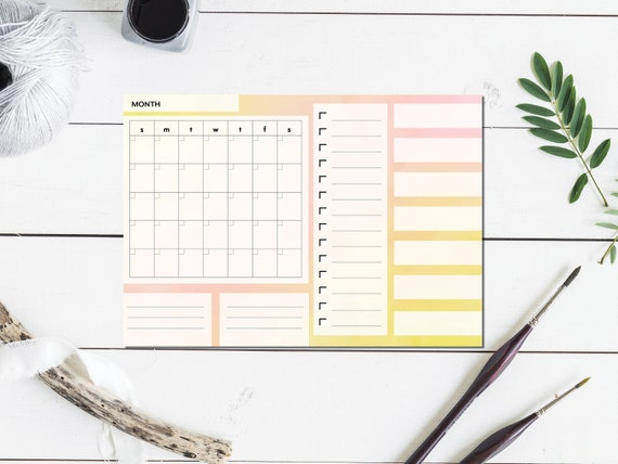 Yellow Watercolor Large Monthly Planner