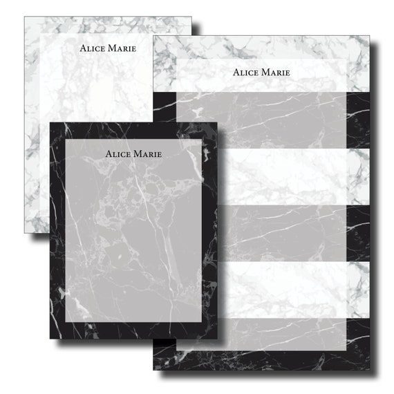 Custom Personalized Name Marble Black and White Notepad Set
