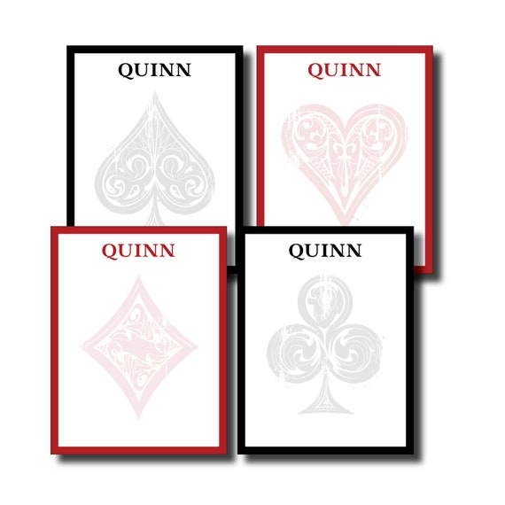 Custom Personalized Name Card Suites Black and Red Notepad Set