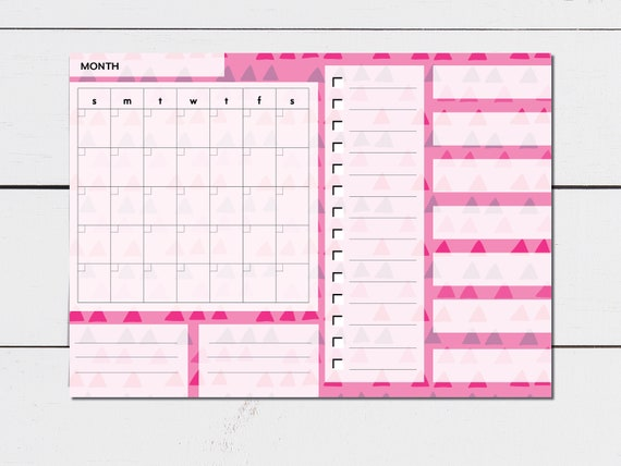 Large Monthly Planner Pink Triangle