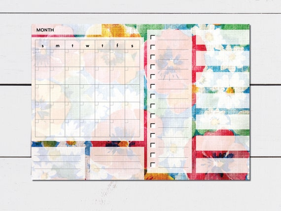 Large Monthly Planner Floral Pattern