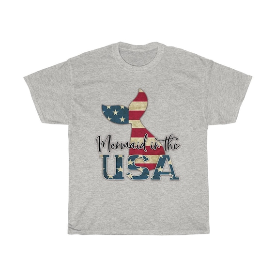 Mermaid in the USA Unisex Cotton Tee
