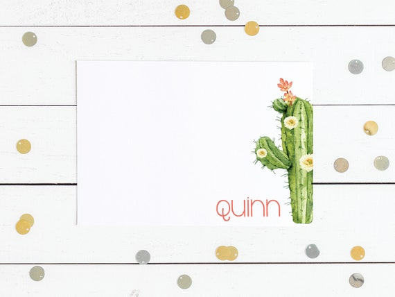 Large Cactus Personalized Notecards