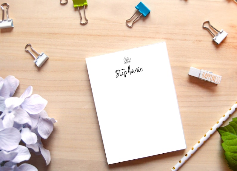 Simple Flower Custom Personalized Notepad