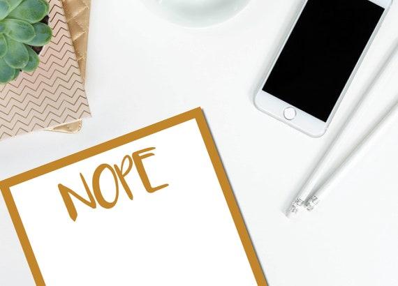 Nope Gold Notepad