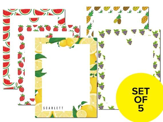 Personalized Fruit Notepad Set