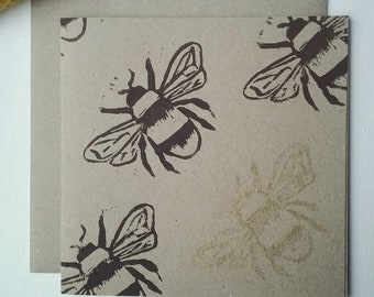 Original Lino Print Bee Card