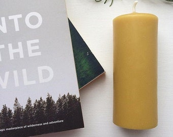 Large 100% Pure Yorkshire Beeswax Pillar Candle