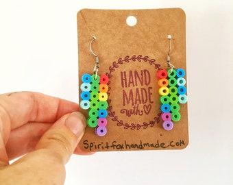 Bar Dangle Earrings, Perler Bead Earrings, Nickel Free, Rainbow Earrings, Teen Gifts