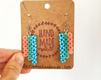 Blue & Peach Bar Earrings, Perler Bead Earrings, Gifts for Her, Nickel Free, Hypoallergenic