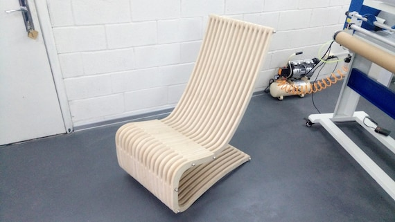 plywood furniture chair, design for laser CNC and CNC milling  Vector  cutting plan   3D puzzle  CNC file