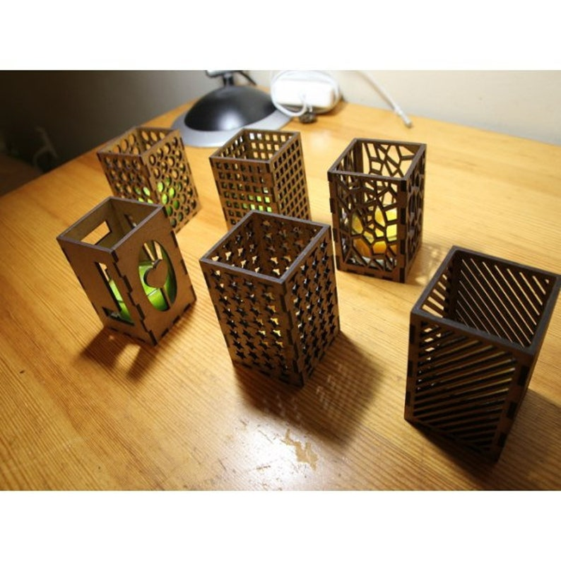 3D puzzle design for laser CNC and CNC milling CNC file. candle shades holders  Digital design Vector cutting plan