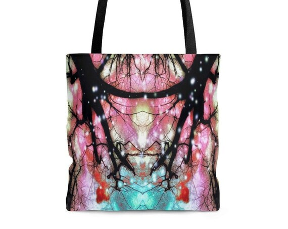Rainbow Tree Tote Bag - All Over Print Pink, Black, Teal, Yellow, Sparkles