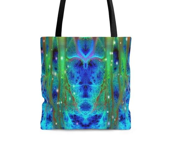 Rainbow Tree Tote Bag - All Over Print Greens & Blues