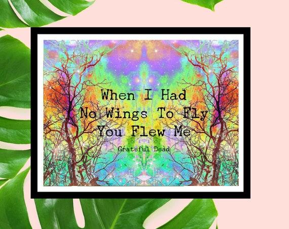 Grateful Dead Lyrics Poster Art Print - Unique Trippy Art - Attics of my Life - Deadhead Gift!