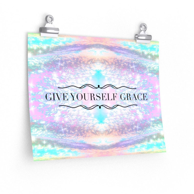 Gratitude Motivational Art Poster Typography Quotation Grace Give Yourself Grace Inspirational Artwork Girly Wall Art.