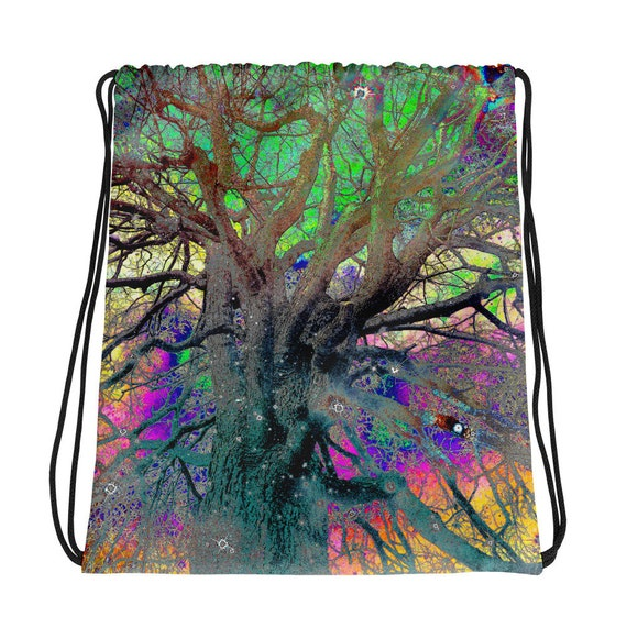 Rainbow Tree of Life Colorful Psychedelic Good Vibes Drawstring Bag
