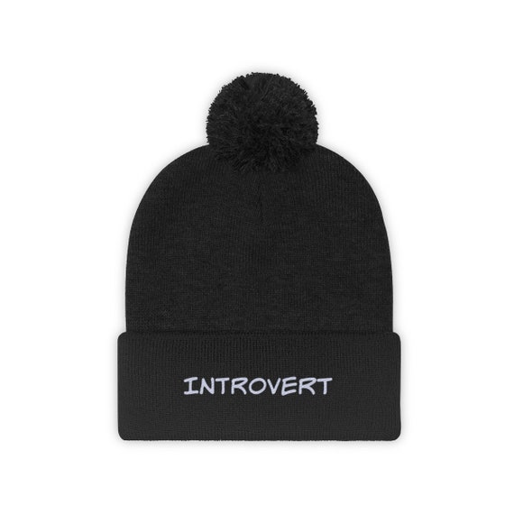 Embroidered Introvert Stocking Cap Pom Pom Beanie Hat