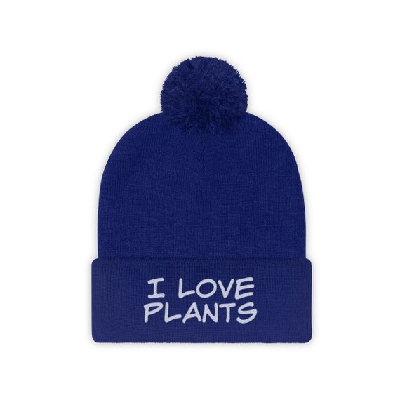 I Love Plants Embroidered Stocking Cap, Pom Pom Beanie, Hat