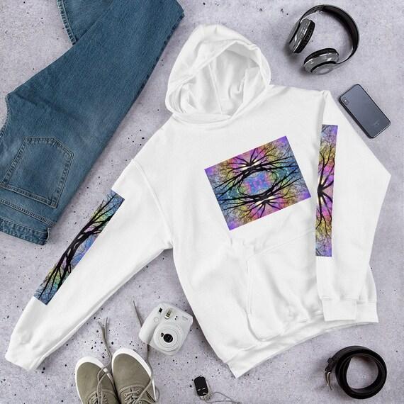 Rainbow Tree Front and Arm Printed Unique Design Hoodie / Hooded Sweatshirt - UNISEX