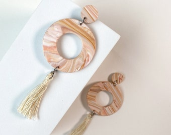Hoops, pink marble earrings, boho earrings, anthropologie, Polymer Clay, clay, earrings, stone, Texas Sunset, Dangle, circle, earrings