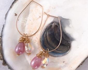 Hoops, gold, earrings, stone, beach, pearl, Swarovski crystal, ear wire