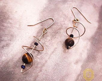 natural gemstone earrings, gold wire earrings, beaded drop dangles,  handmade earrings , minimal  dangles, unique