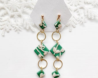 Christmas earrings, Dangle earrings, clay earrings, green and white earrings,  cz earrings