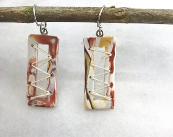 Boho, Clay earrings, polymer clay earrings, statement earring, earrings, marble, stone, stud, dangle, jewelry, River, Pecos River Earrings