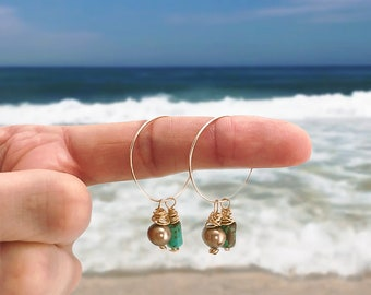 Hoops, gold, turquoise, brown, pearl, gold, sea knot, beach, dangle, earrings
