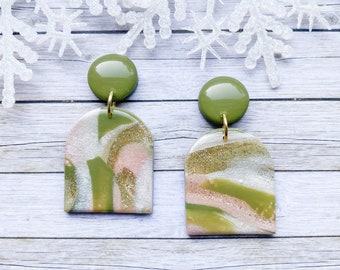Half round l, marble statement earrings, pink and green earrings