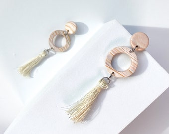 small hoops, pink marble hoops, marble earrings, tassel earrings